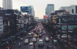 Air pollution inside your car is 40% higher during traffic jams, so keep windows closed and switch fans off
