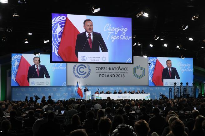 Andrzej Duda, presidente de Polonia, durante su intervención en la cumbre de Katovice. (Sean Gallup / Getty)