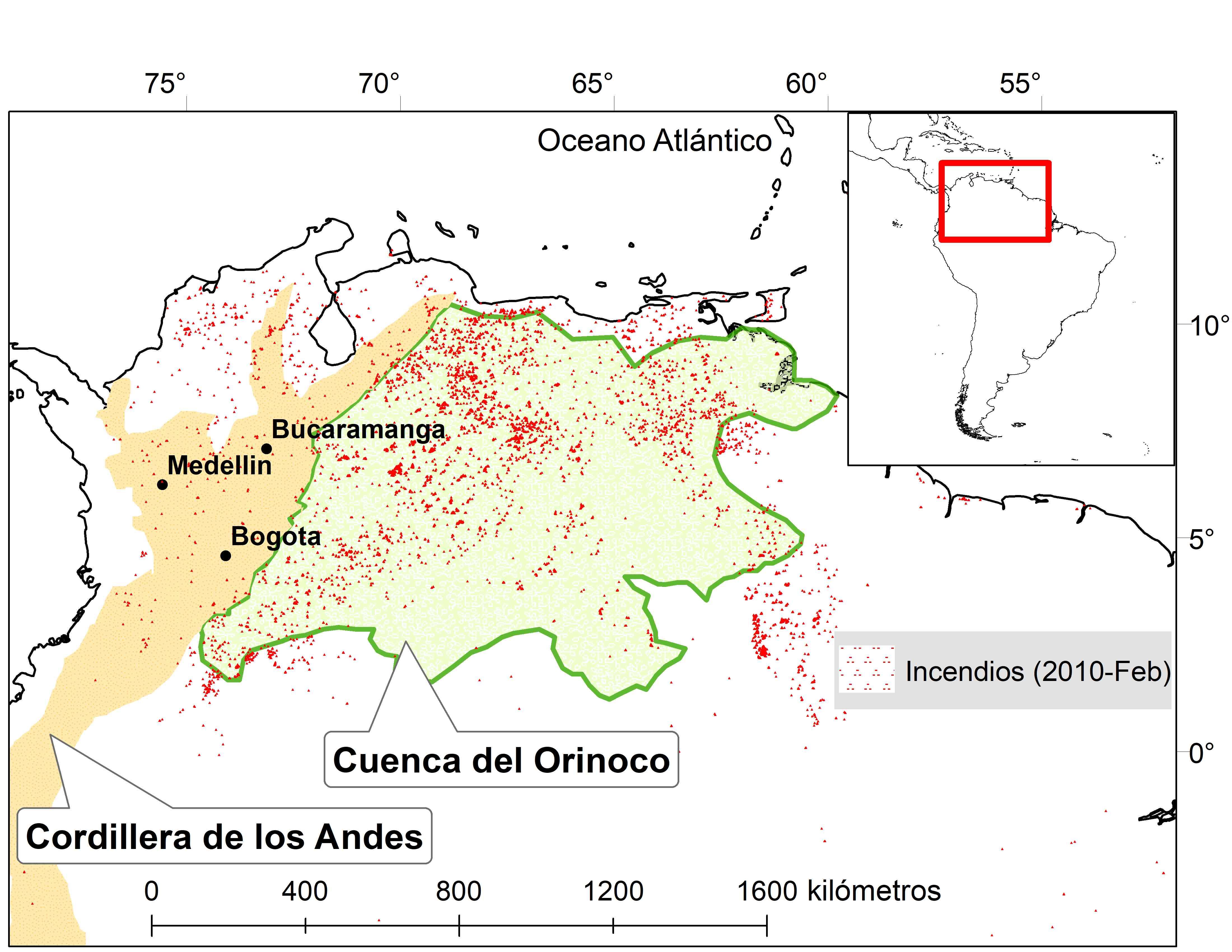 Este mapa, elaborado por expertos de las universidades Nacional y Andes, plasma los incendios forestales de la Orinoquia en febrero de 2010. El humo emitido por los fuegos llegó hasta Bogotá, Medellín y Bucaramanga. Fuente: U. Nacional y Andes.