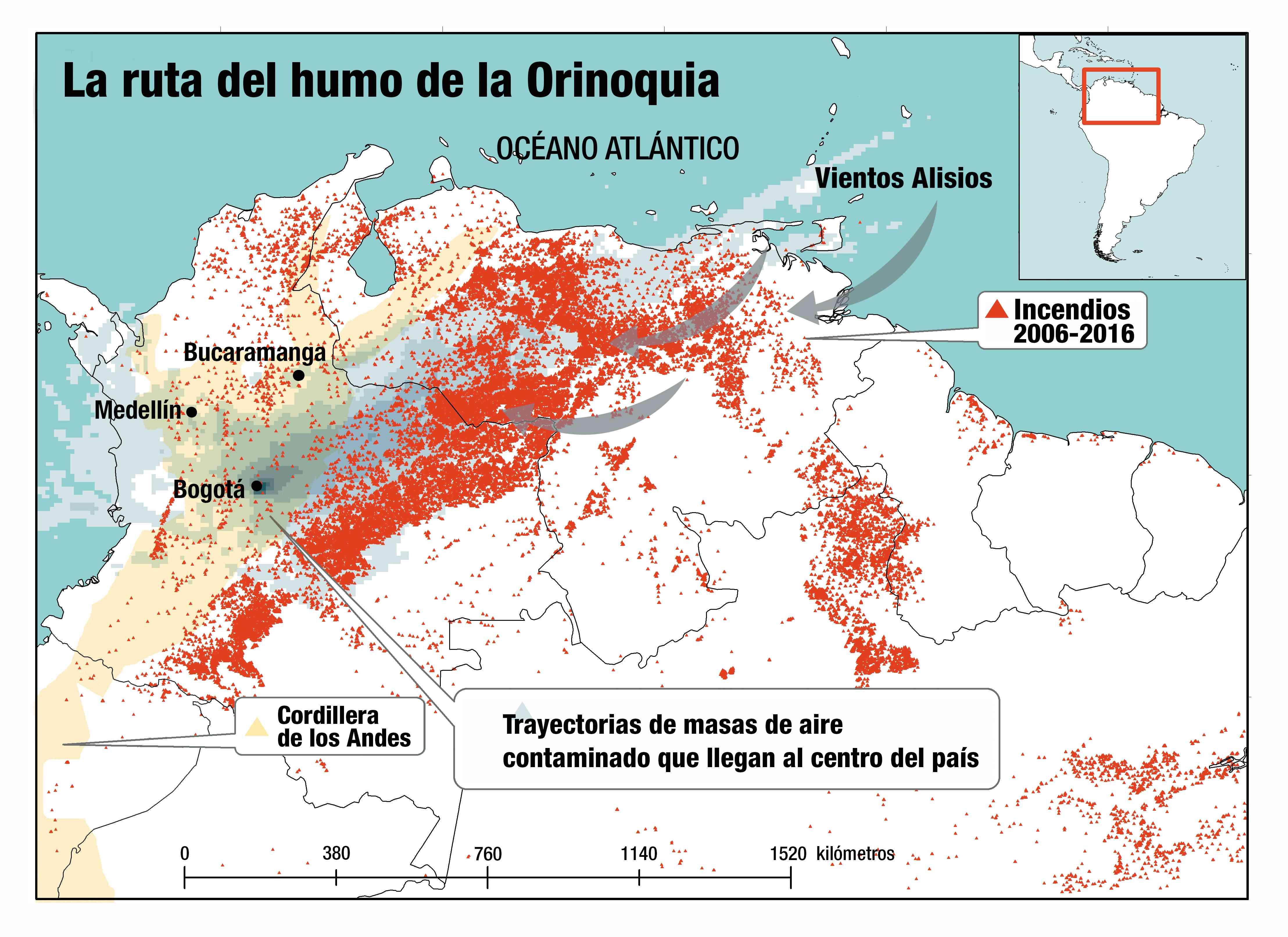 Expertos de las universidades Nacional y Andes identificaron que entre 2006 y 2016 hubo más de 400.000 incendios forestales en la Orinoquia colombo-venezolana. Con un modelo de la trayectoria de las masas del aire, concluyeron que el humo llegó a Bogotá, Medellín y Bucaramanga. Fuente: U. Nacional, Andes / Semana.