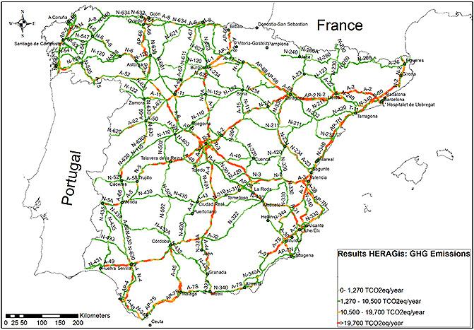 Nuevo mapa de emisiones de la red de carreteras de España